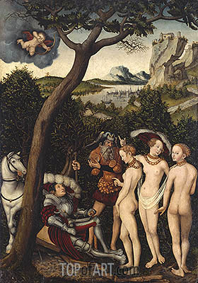 The Judgment of Paris, c.1528 | Lucas Cranach | Gemälde Reproduktion