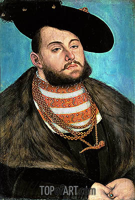 Portrait of John Frederick the Magnanimous Elector of Ernestine of Saxony, 1531 | Lucas Cranach | Painting Reproduction