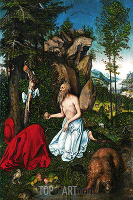 St. Jerome in the Desert, c.1525 | Lucas Cranach| Gemälde Reproduktion