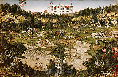 A Hunt in Honor of Carlos V at Torgau Castle, 1544 | Lucas Cranach| Painting Reproduction