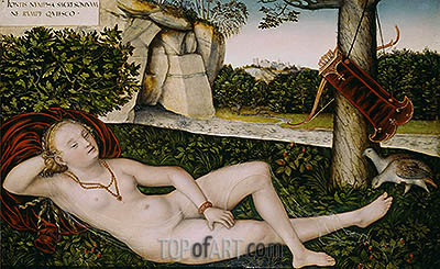 Reclining Water Nymph, c.1540/50 | Lucas Cranach| Painting Reproduction