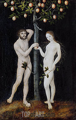 Adam and Eve, 1521 | Lucas Cranach| Gemälde Reproduktion