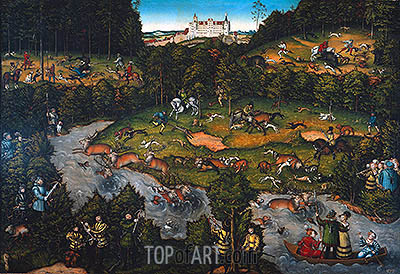 Hunting near Hartenfels Castle, 1540 | Lucas Cranach | Painting Reproduction