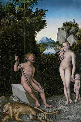 A Faun and His Family with a Slain Lion, c.1526 | Lucas Cranach| Gemälde Reproduktion