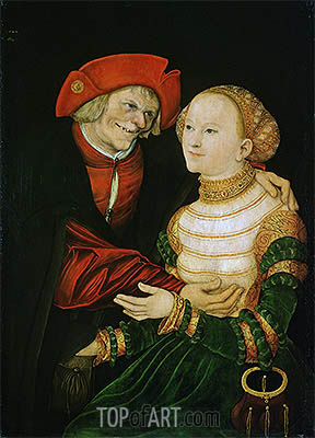 The Ill-Matched Couple, 1522 | Lucas Cranach| Painting Reproduction