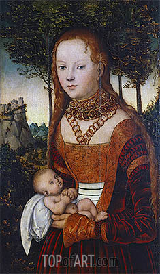 Young Mother with Child (Penance of St. John Chrysostom), 1525 | Lucas Cranach| Painting Reproduction