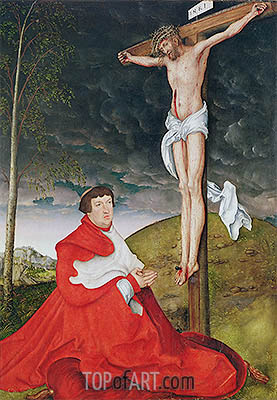 Cardinal Albrecht of Brandenburg Kneeling before Christ on the Cross, c.1520/29 | Lucas Cranach | Painting Reproduction