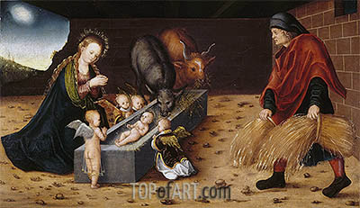 The Nativity with Adoring Child Angels, undated | Lucas Cranach | Painting Reproduction