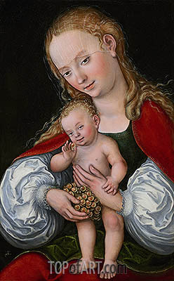 Madonna and Child with Grapes, c.1537 | Lucas Cranach| Painting Reproduction