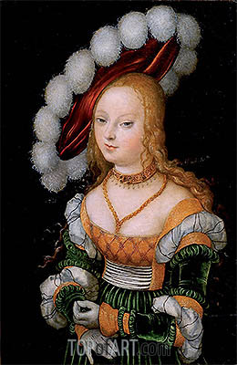 Portrait of Young Girl, c.1525/30 | Lucas Cranach| Painting Reproduction