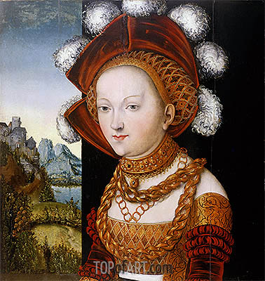 A Finely Dressed Young Lady, c.1530 | Lucas Cranach| Painting Reproduction