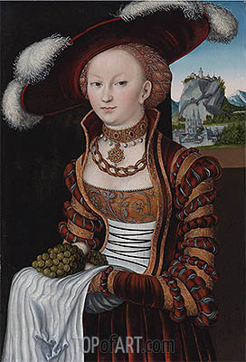 Portrait of a Young Lady Holding Grapes and Apples , 1528 | Lucas Cranach | Painting Reproduction
