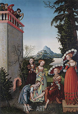 David and Bathsheba, 1534 | Lucas Cranach | Gemälde Reproduktion