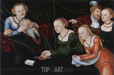 Old Man Beguiled by Courtesans, undated | Lucas Cranach | Painting Reproduction