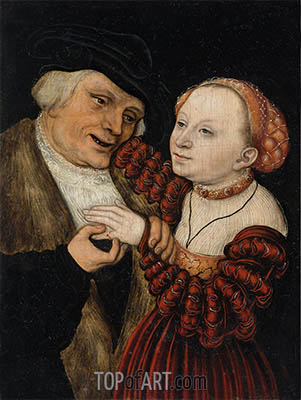 The Ill-Matched Lovers, undated | Lucas Cranach| Painting Reproduction