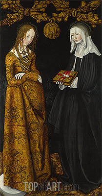 Saints Christina and Ottilia (The St Catherine Altarpiece), 1506 | Lucas Cranach | Gemälde Reproduktion