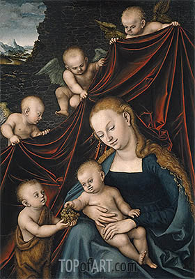 The Virgin with the Christ Child, Saint John and Angels, 1536 | Lucas Cranach| Painting Reproduction