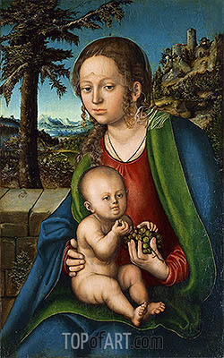 The Virgin with Child with a Bunch Grapes, c.1510 | Lucas Cranach| Gemälde Reproduktion