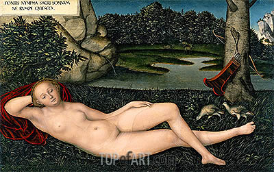 The Nymph at the Fountain, c.1530/34 | Lucas Cranach| Painting Reproduction