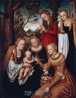 Lucas Cranach | (Marriage of St Catherine) The Virgin and Child with Sts Catherine, Dorothy, Margaret and Barbara, 1516