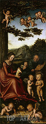 The Holy Family Surrounded by Angels, c.1510/15 | Lucas Cranach| Gemälde Reproduktion