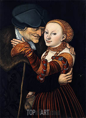 An Ill-Matched Pair, 1528 | Lucas Cranach| Painting Reproduction