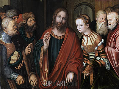 Christ and the Adulteress, c.1520 | Lucas Cranach| Gemälde Reproduktion