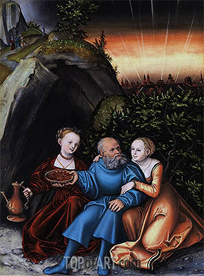 Lot and his Daughters, 1533 | Lucas Cranach | Painting Reproduction