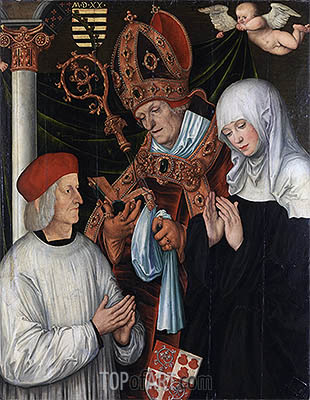 Lucas Cranach | Gabriel of Eyb, Bishop of Eichstatt, with Sts Wilibald and Walburga, 1520