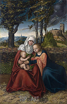 The Virgin and Child with St Anne, c.1516 | Lucas Cranach| Gemälde Reproduktion