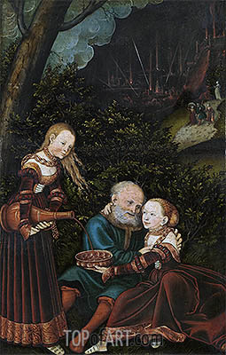 Lot and his Daughters, 1529 | Lucas Cranach| Painting Reproduction