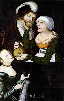 An Ill-Matched Pair, c.1540 | Lucas Cranach| Painting Reproduction