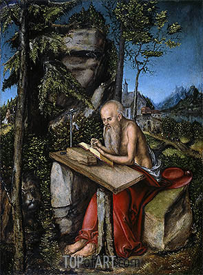 St Jerome in a Rocky Landscape, c.1515 | Lucas Cranach| Painting Reproduction