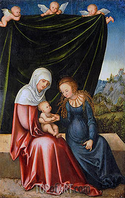 The Virgin and Child with St Anne, c.1520 | Lucas Cranach| Painting Reproduction