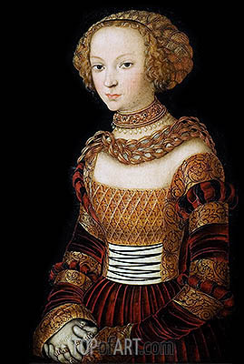 Portrait of a Young Woman (Princess Emilia of Saxony), c.1537 | Lucas Cranach | Gemälde Reproduktion