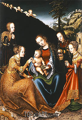 The Mystic Marriage of Saint Catherine of Alexandria with Saints Dorothy, Margaret and Barbara, c.1516/18 | Lucas Cranach| Painting Reproduction