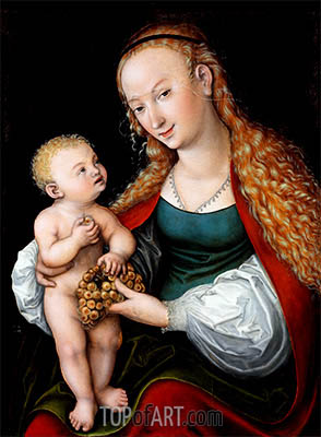 The Virgin and Child with a Bunch of Grapes, a.1537 | Lucas Cranach | Painting Reproduction