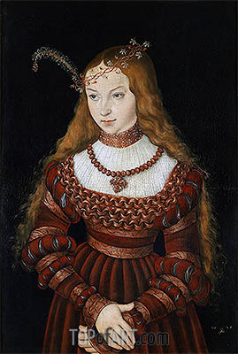 Portrait of Princess Sibylle of Cleve, 1526 | Lucas Cranach| Gemälde Reproduktion