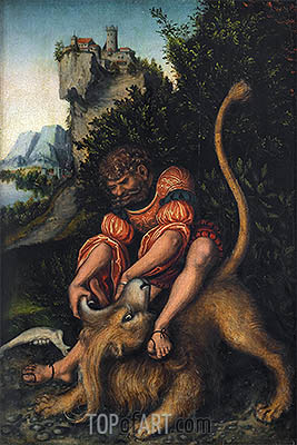Samson Battling with the Lion, c.1520/25 | Lucas Cranach | Gemälde Reproduktion