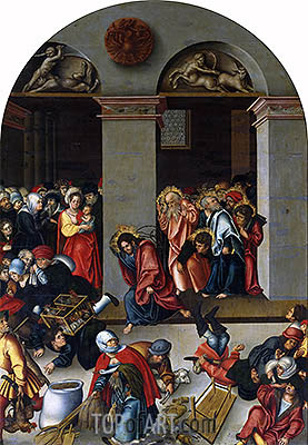 Expulsion of the Money-Changers from the Temple, c.1510 | Lucas Cranach| Gemälde Reproduktion
