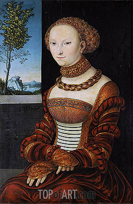 Portrait of a Young Woman (Sibylle of Cleve), c.1526 | Lucas Cranach| Gemälde Reproduktion