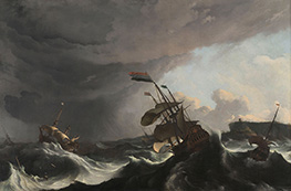 Ships in Distress in a Heavy Storm, c.1690 by Bakhuysen | Painting Reproduction
