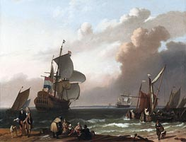 Coastal Scene with a Man-of-War and other Vessels, 1692 by Bakhuysen | Painting Reproduction