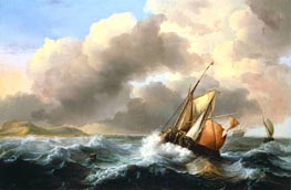 Fishing Vessels Offshore in a Heavy Sea, 1684 by Bakhuysen | Painting Reproduction