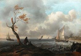 Bateau de peche et cabotier par gros temps, dit aussi le coup de vent, undated von Bakhuysen | Gemälde-Reproduktion