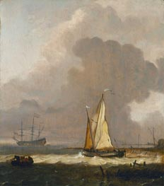 A Kaag Leaving the Shore in Stormy Weather | Bakhuysen | Painting Reproduction