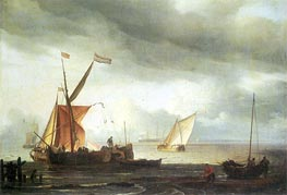 Dutch Craft Lying Close Onshore, c.1690 by Bakhuysen | Painting Reproduction
