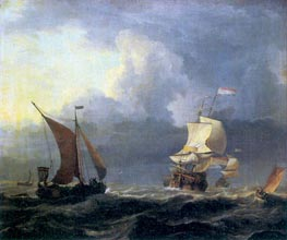 Ships in a Storm | Bakhuysen | Painting Reproduction