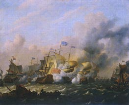 A Sea Battle between the Dutch and the English | Bakhuysen | Painting Reproduction