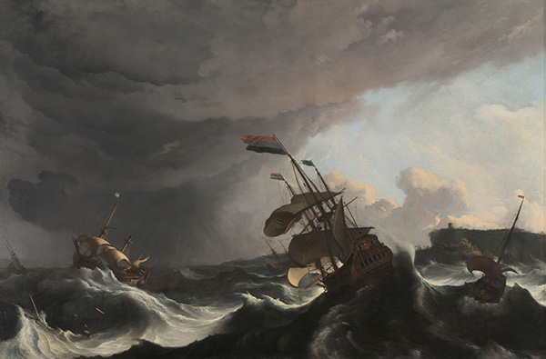 Ships in Distress in a Heavy Storm, c.1690 | Bakhuysen | Painting Reproduction